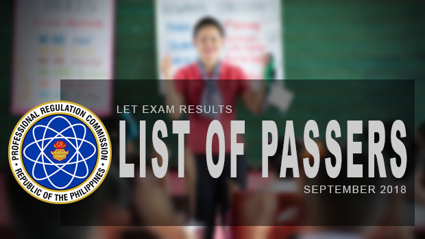 PRC Exam Results: LET Teachers Board Exam September 2018