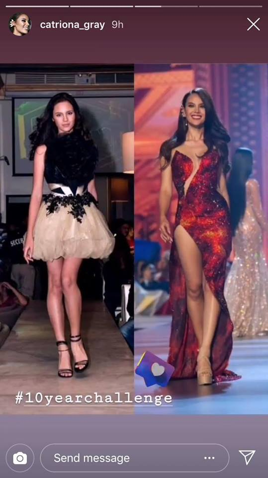 """Catriona Gray, 2018 Miss Universe Accepts The Trending """"10-Year Challenge"""""""
