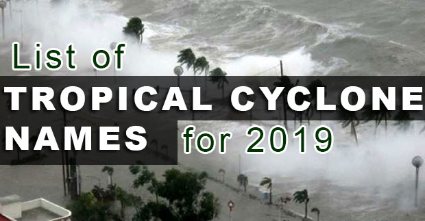 List Of Tropical Cyclone Names For 2019