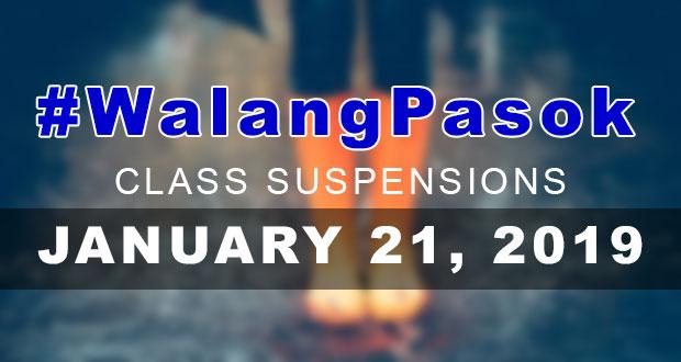 Class Suspensions On Monday (January 21, 2019) | #WalangPasok