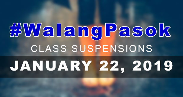 Class Suspensions On Monday (January 22, 2019) | #WalangPasok