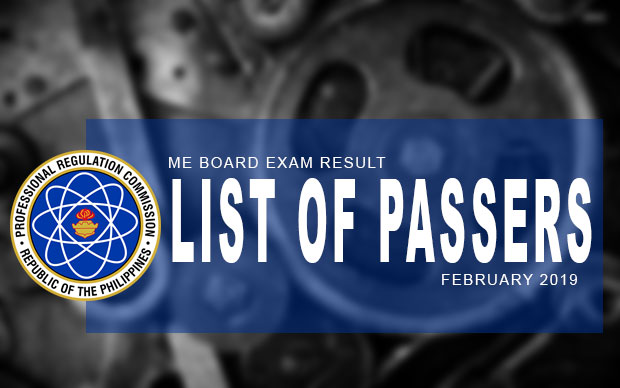 PRC Exam Results: Mechanical Engineer Exam February 2019 Result (A-M) | List Of Passers