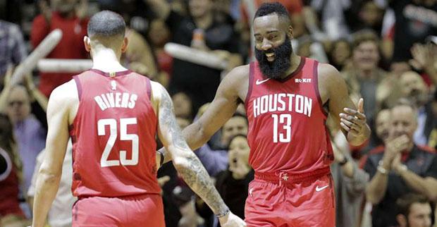 873e00ecaf7 Houston Rockets guard James Harden dropped 42 points against the Boston  Celtics