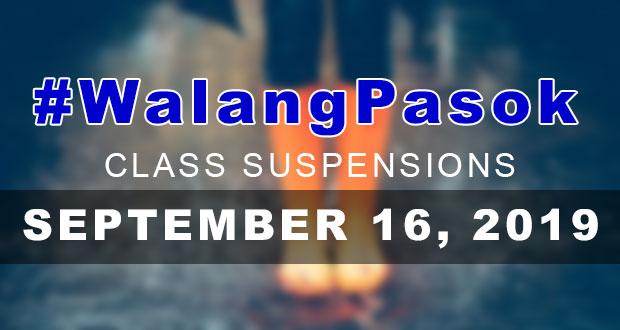 #WalangPasok | Class Suspensions On Monday (September 16, 2019)