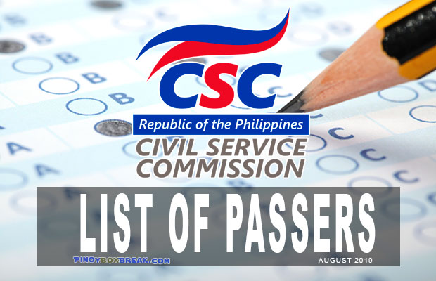 Civil Service Exam (CSE) Results August 2019 | List Of Passers