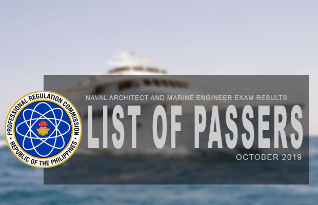 PRC Exam Results: Naval Architects and Marine Engineers Board Exam October 2019 Result | List Of Passers