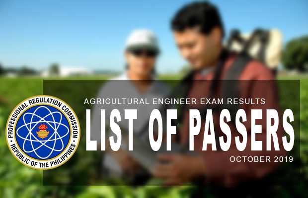 PRC Exam Results: Agricultural Engineer Board Exam October 2019 Result | List Of Passers