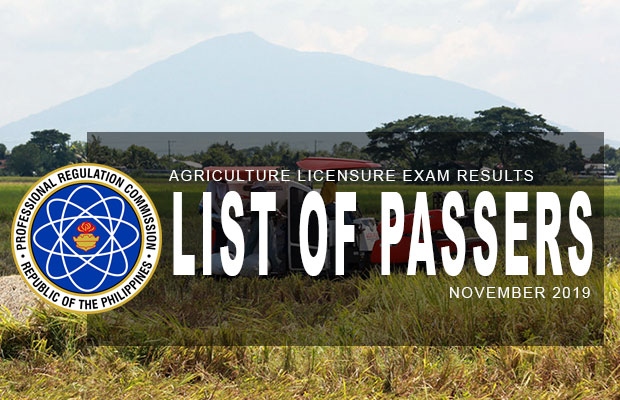 PRC Exam Results: Agriculture Licensure Exam November 2019 Result | List Of Passers