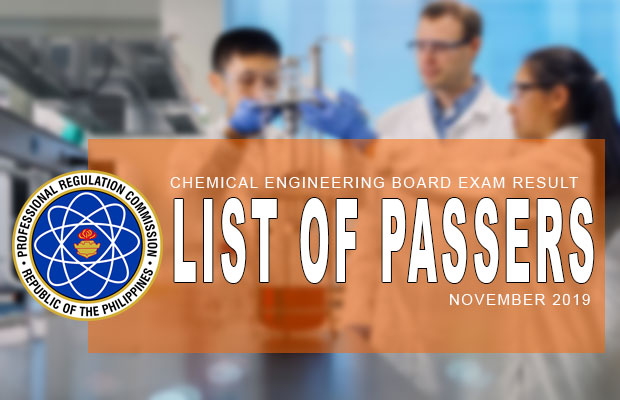 PRC Exam Results: Chemical Engineering Board Exam November 2019 Result | List Of Passers