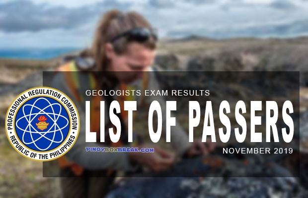 PRC Exam Results: Geology Board Exam November 2019 Result | List Of Passers