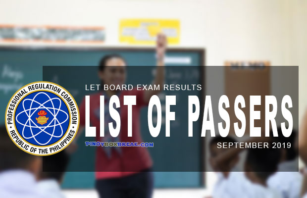 PRC Exam Results: LET Board Exam September 2019 Result | List Of Passers