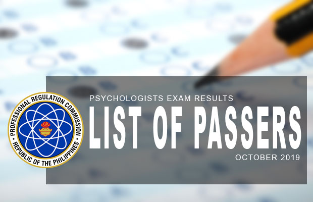 PRC Exam Results: Psychologists Board Exam October 2019 Result | List Of Passers