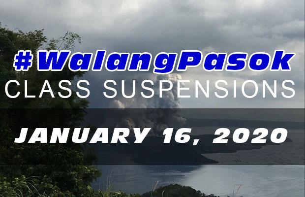 #WalangPasok | Class Suspensions On Thursday (January 16, 2020)