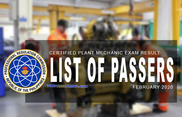 PRC Exam Results: Certified Plant Mechanic (CPM) Board Exam February 2020 Result | List Of Passers