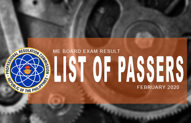 PRC Exam Results: Mechanical Engineer (ME) Board Exam February 2020 Result | List Of Passers